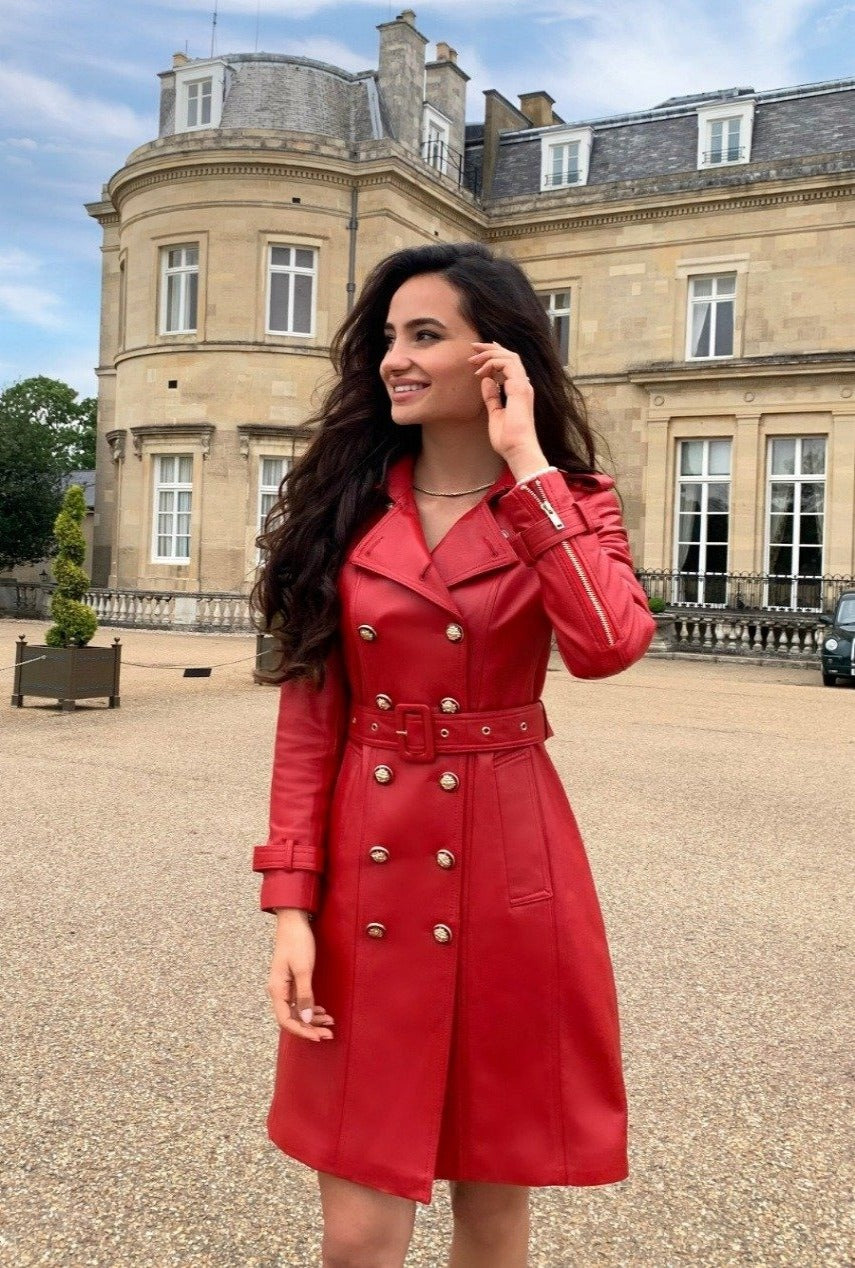 'Belle Du Jour' 100% Leather Trench Coat in Rosso
