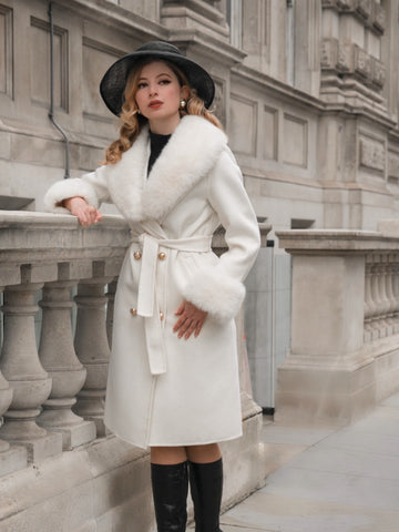 'An American in Paris' 100% Cashmere and Wool Coat with Faux Fur in Bianco
