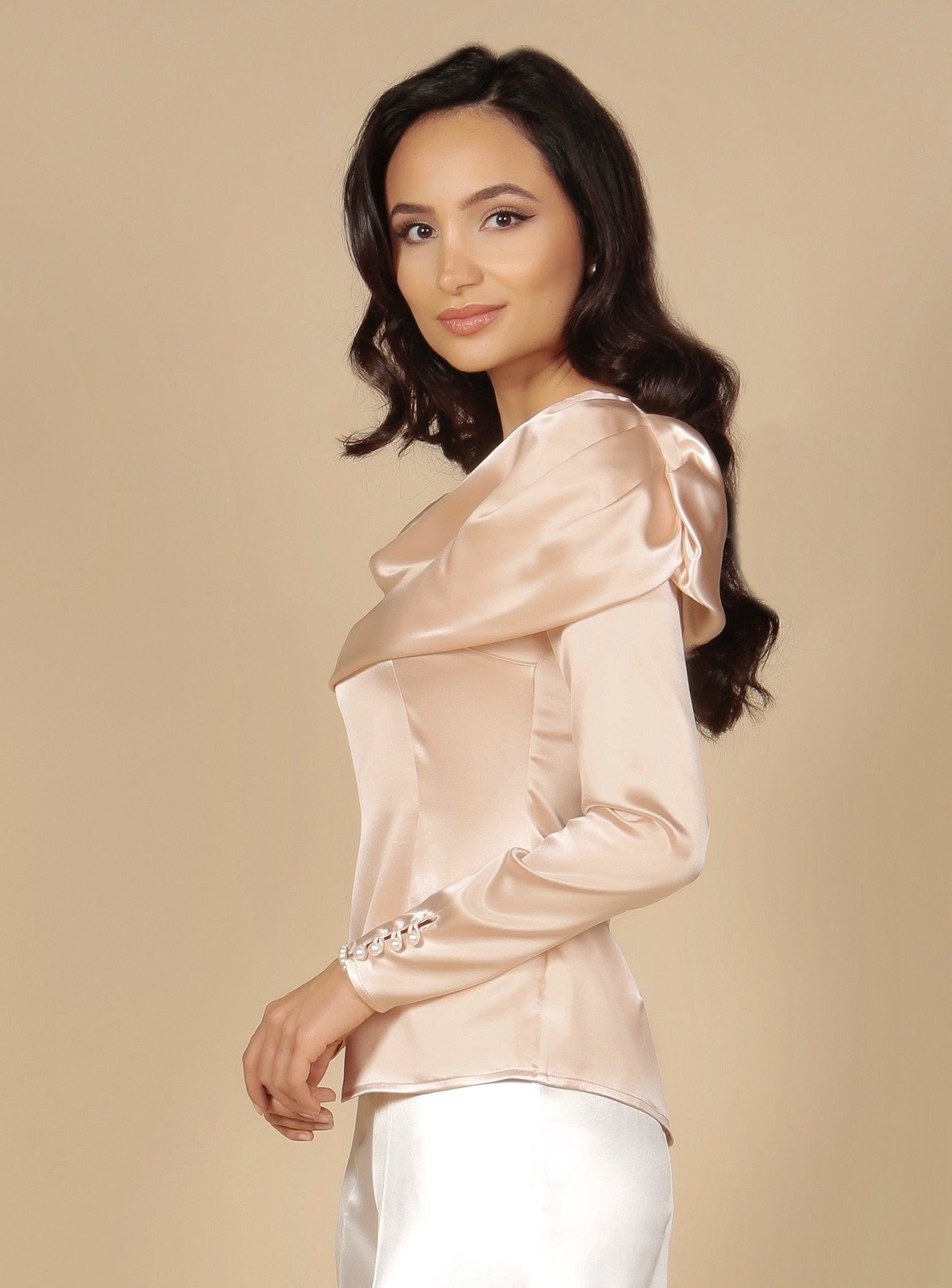 'To Catch A Thief' Heavy Silk Satin Bardot Cowl Neck Blouse in Rosa