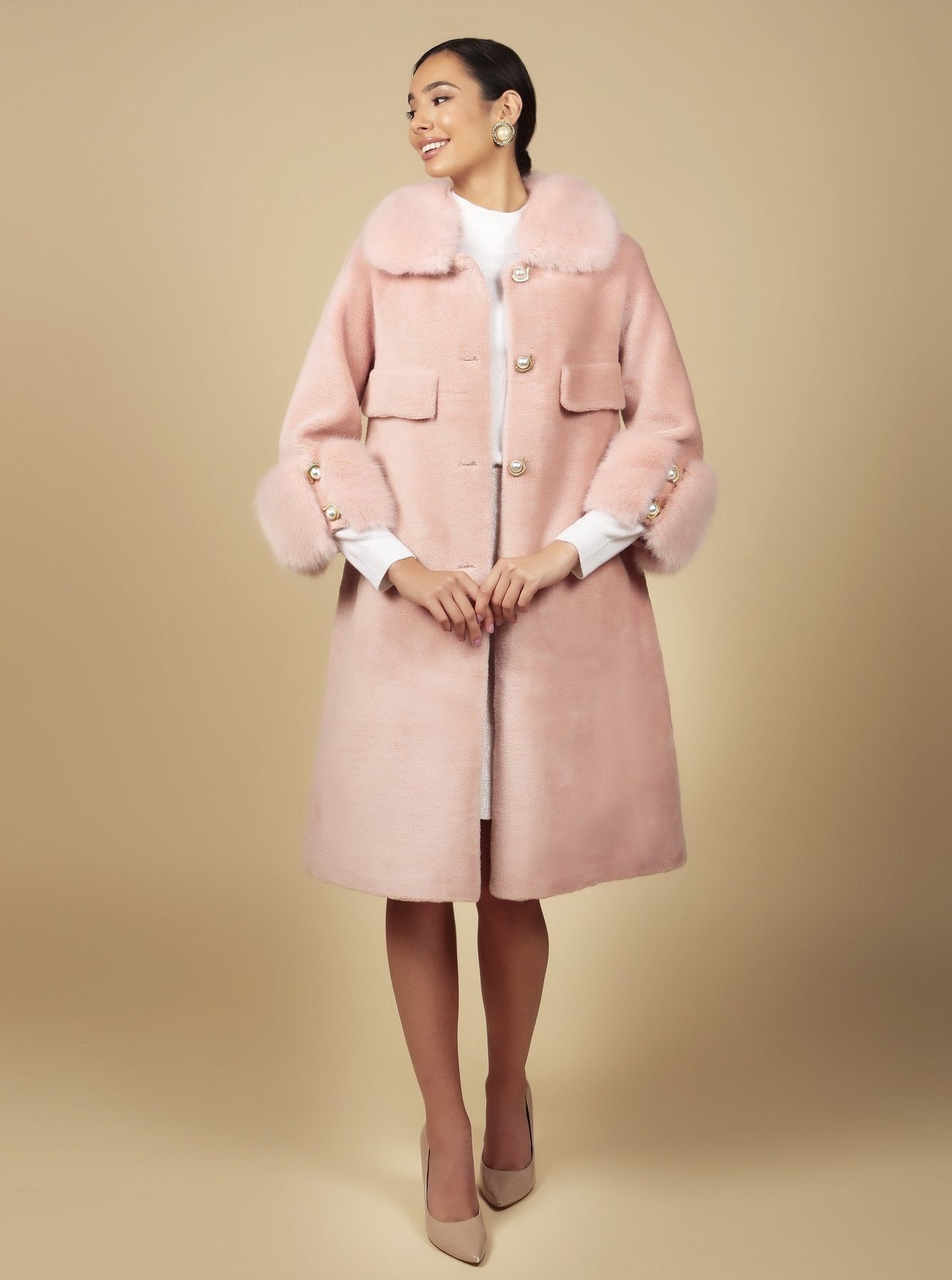 'Roman Holiday' 100% Wool Coat in Rosa