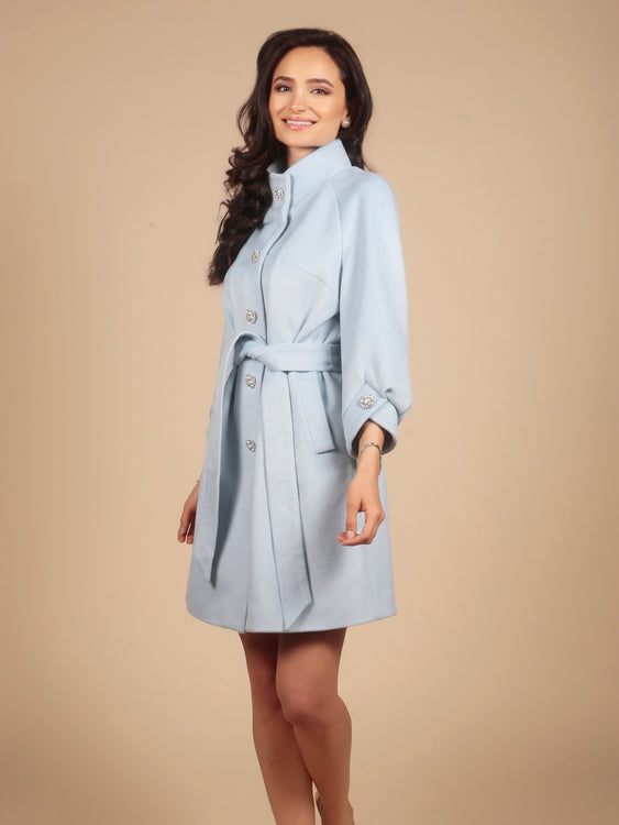 'A Place in the Sun' 100% Cashmere and Wool Coat in Blu