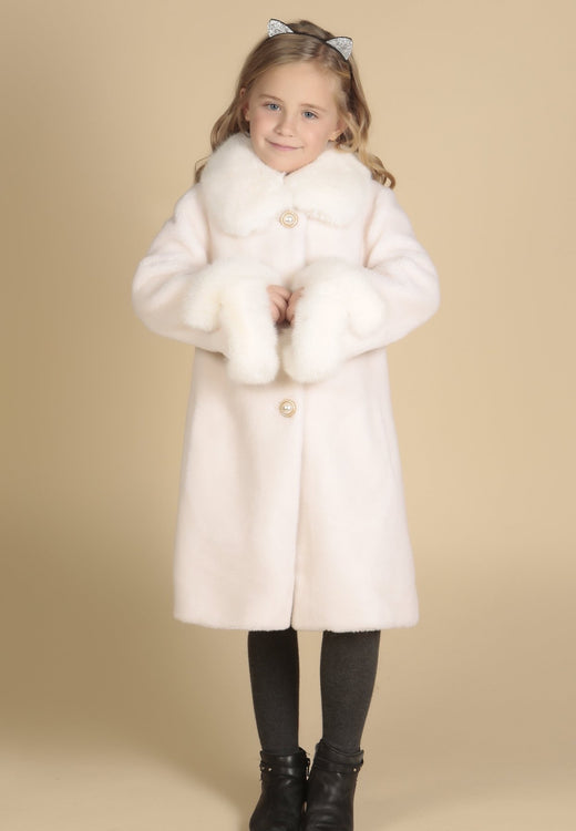 'Mini' 'An Affair To Remember' 100% Wool Coat in Bianco