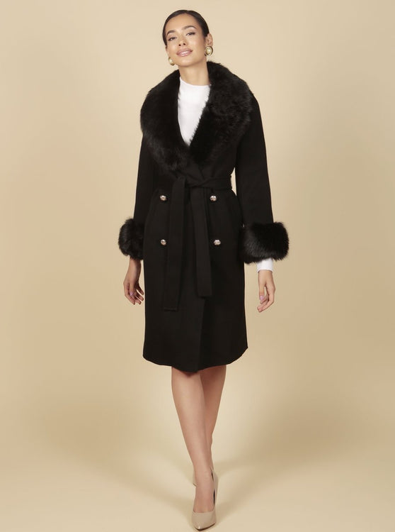 'An American in Paris' 100% Cashmere and Wool Coat with Faux Fur in Nero