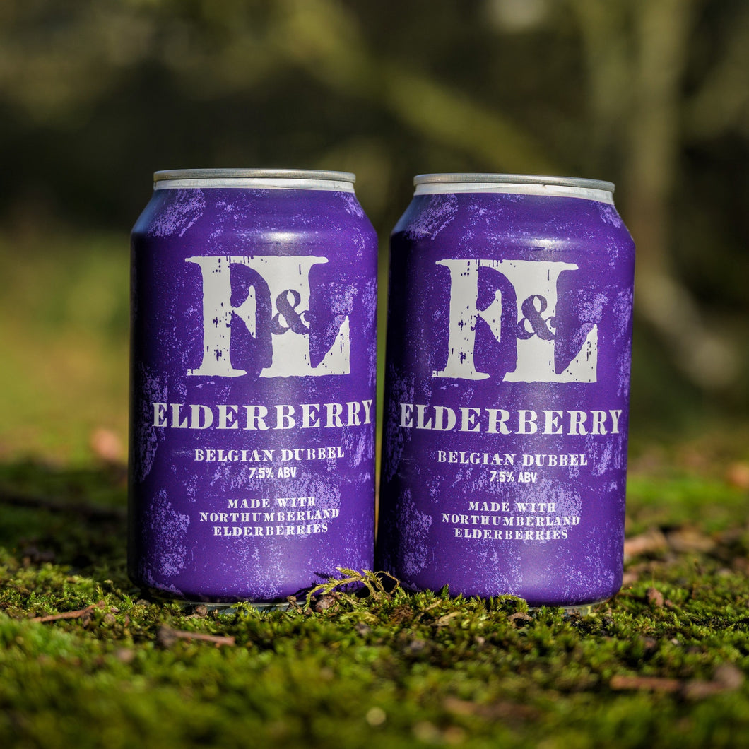 Two cans of Elderberry Dubbel