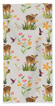 Load image into Gallery viewer, Fawn with Wildflowers and Humming birds - Bath Towel