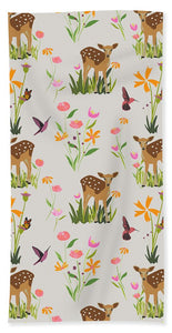Fawn with Wildflowers and Humming birds - Bath Towel
