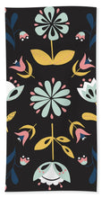 Load image into Gallery viewer, Folk Flower Pattern in Black and Blue - Bath Towel