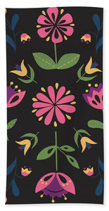 Folk Flower Pattern in Black and Pink - Bath Towel