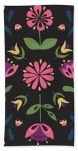 Load image into Gallery viewer, Folk Flower Pattern in Black and Pink - Bath Towel