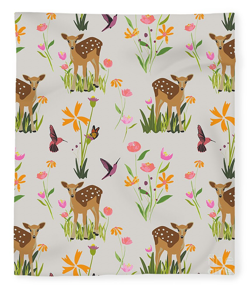 Fawn with Wildflowers and Humming birds - Blanket