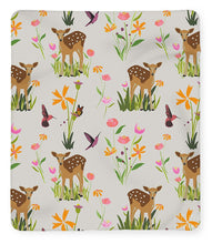 Load image into Gallery viewer, Fawn with Wildflowers and Humming birds - Blanket