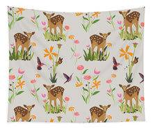 Load image into Gallery viewer, Fawn with Wildflowers and Humming birds - Tapestry
