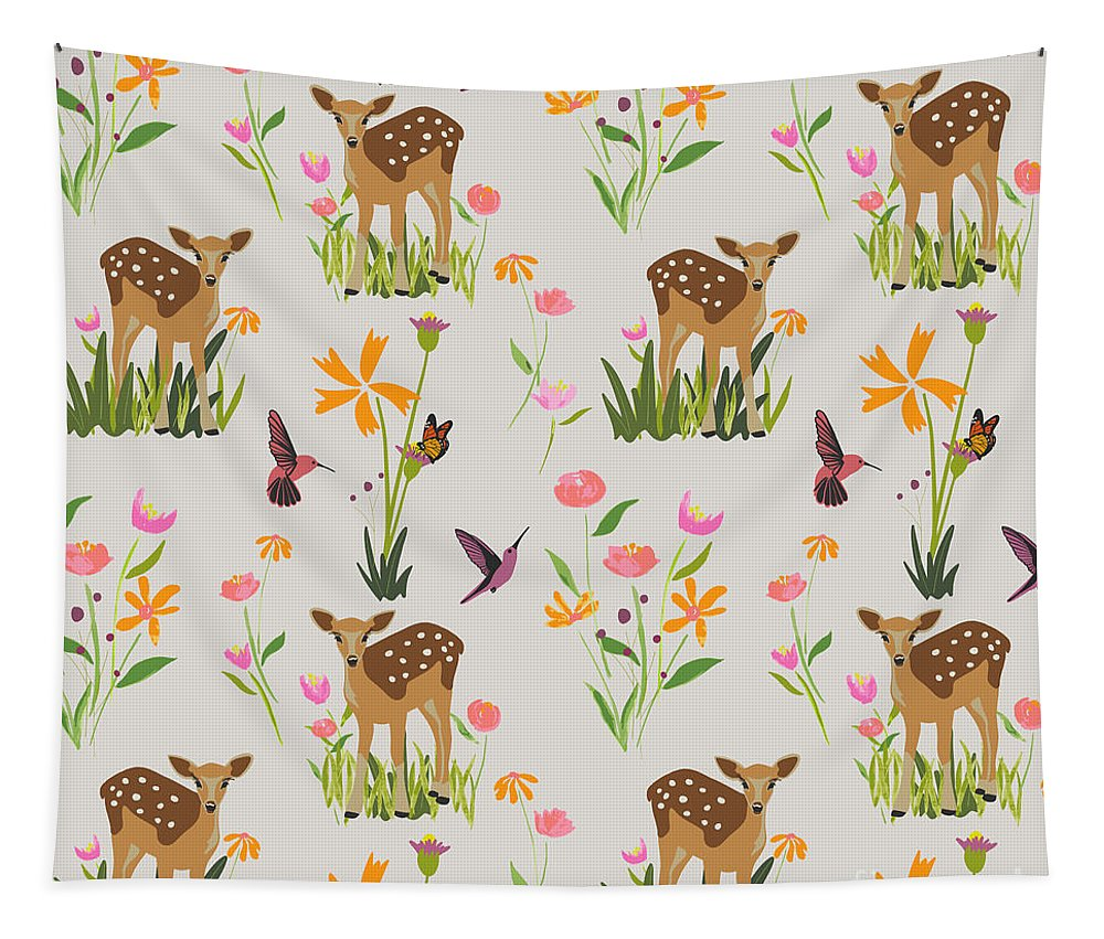 Fawn with Wildflowers and Humming birds - Tapestry
