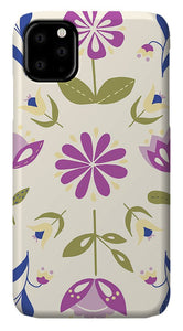 Folk Flower Pattern in Beige and Purple - Phone Case