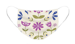 Folk Flower Pattern in Beige and Purple - Face Mask