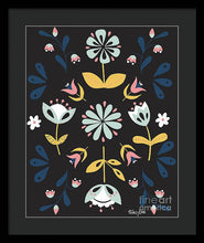 Load image into Gallery viewer, Folk Flower Pattern in Black and Blue - Framed Print