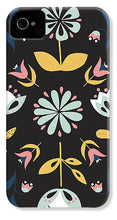 Load image into Gallery viewer, Folk Flower Pattern in Black and Blue - Phone Case