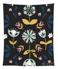 Load image into Gallery viewer, Folk Flower Pattern in Black and Blue - Tapestry