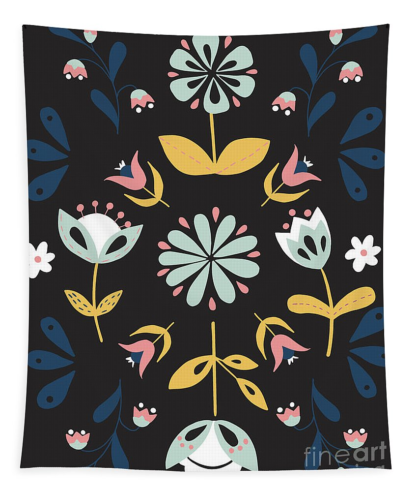 Folk Flower Pattern in Black and Blue - Tapestry