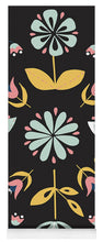 Load image into Gallery viewer, Folk Flower Pattern in Black and Blue - Yoga Mat