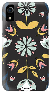 Folk Flower Pattern in Black and Blue - Phone Case