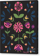 Load image into Gallery viewer, Folk Flower Pattern in Black and Pink - Canvas Print