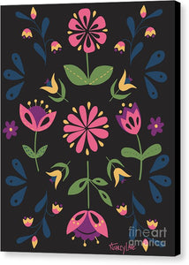 Folk Flower Pattern in Black and Pink - Canvas Print