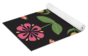 Folk Flower Pattern in Black and Pink - Yoga Mat
