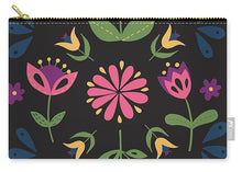 Load image into Gallery viewer, Folk Flower Pattern in Black and Pink - Carry-All Pouch