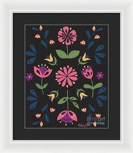 Folk Flower Pattern in Black and Pink - Framed Print