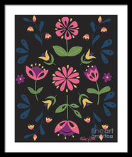 Load image into Gallery viewer, Folk Flower Pattern in Black and Pink - Framed Print