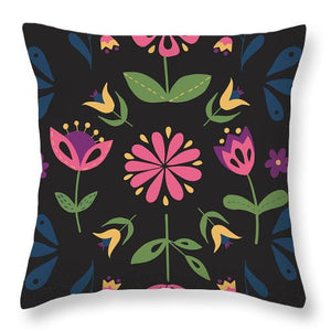 Folk Flower Pattern in Black and Pink - Throw Pillow