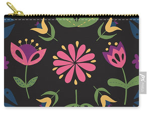 Folk Flower Pattern in Black and Pink - Carry-All Pouch