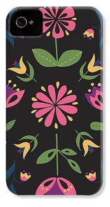 Folk Flower Pattern in Black and Pink - Phone Case