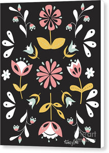 Folk Flower Pattern in Black and White - Canvas Print