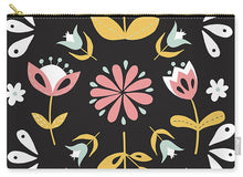 Load image into Gallery viewer, Folk Flower Pattern in Black and White - Carry-All Pouch