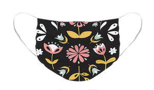 Folk Flower Pattern in Black and White - Face Mask