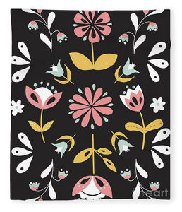 Folk Flower Pattern in Black and White - Blanket