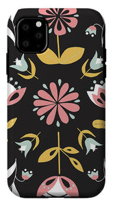 Folk Flower Pattern in Black and White - Phone Case