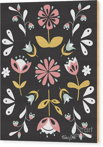 Folk Flower Pattern in Black and White - Wood Print