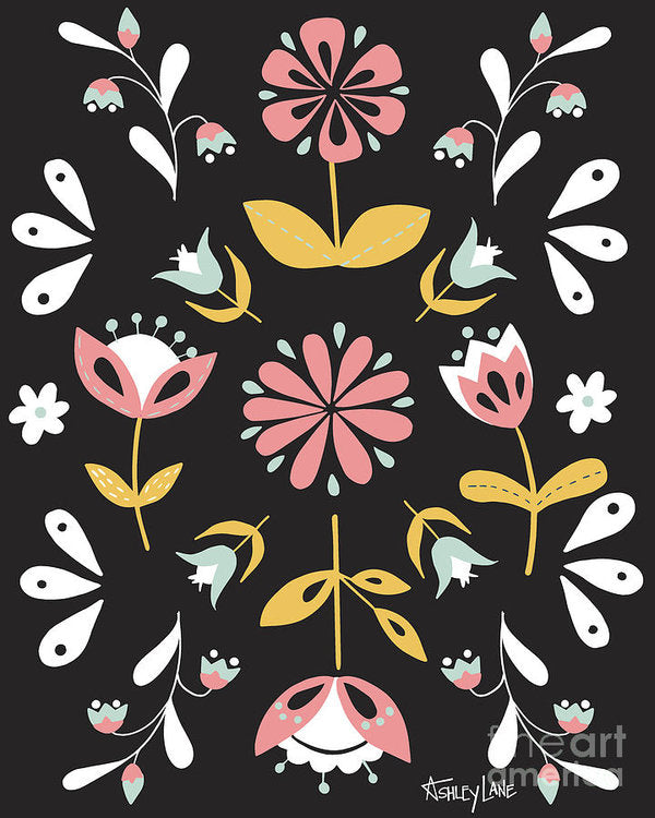 Folk Flower Pattern in Black and White - Art Print