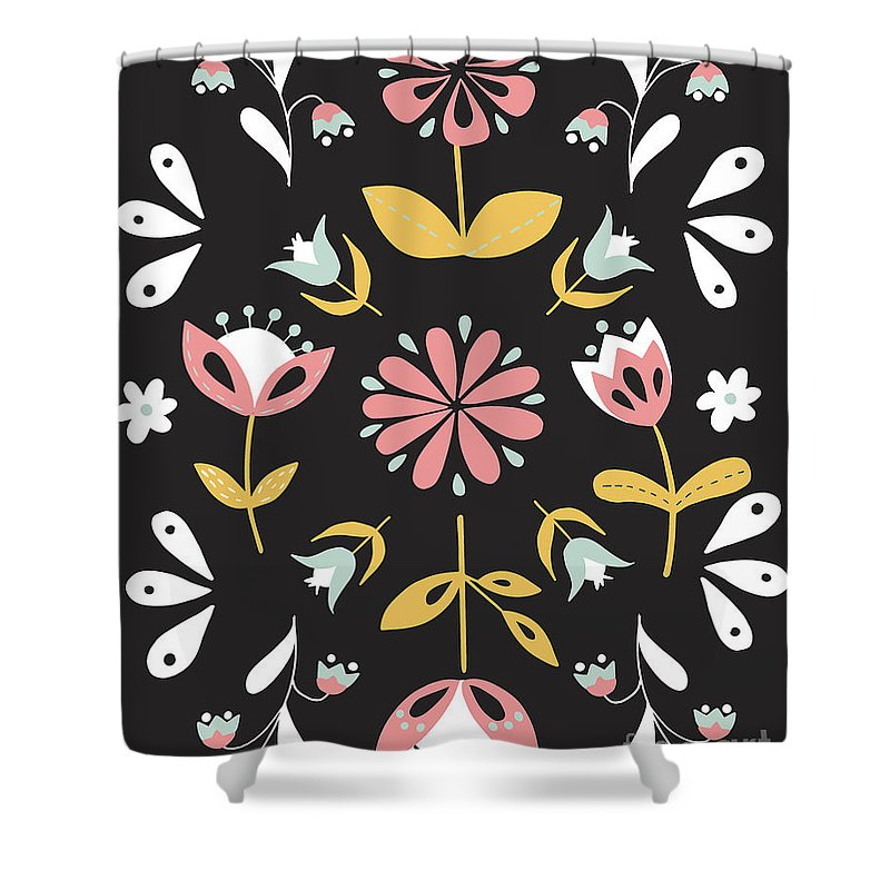 Folk Flower Pattern in Black and White - Shower Curtain