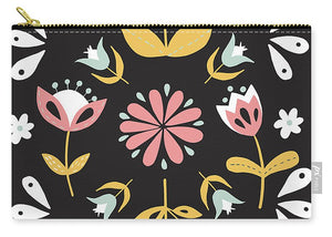 Folk Flower Pattern in Black and White - Carry-All Pouch