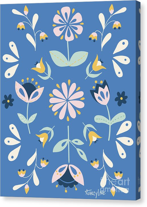 Folk Flower Pattern in Blue - Canvas Print