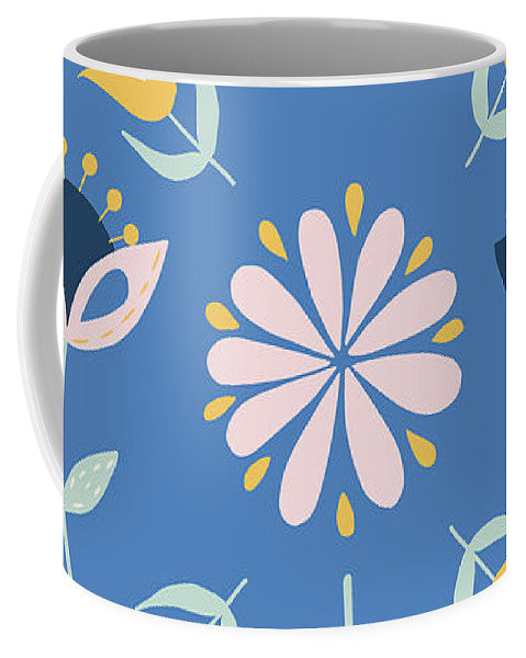Folk Flower Pattern in Blue - Mug