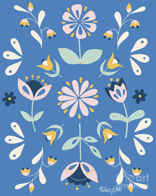 Folk Flower Pattern in Blue - Art Print