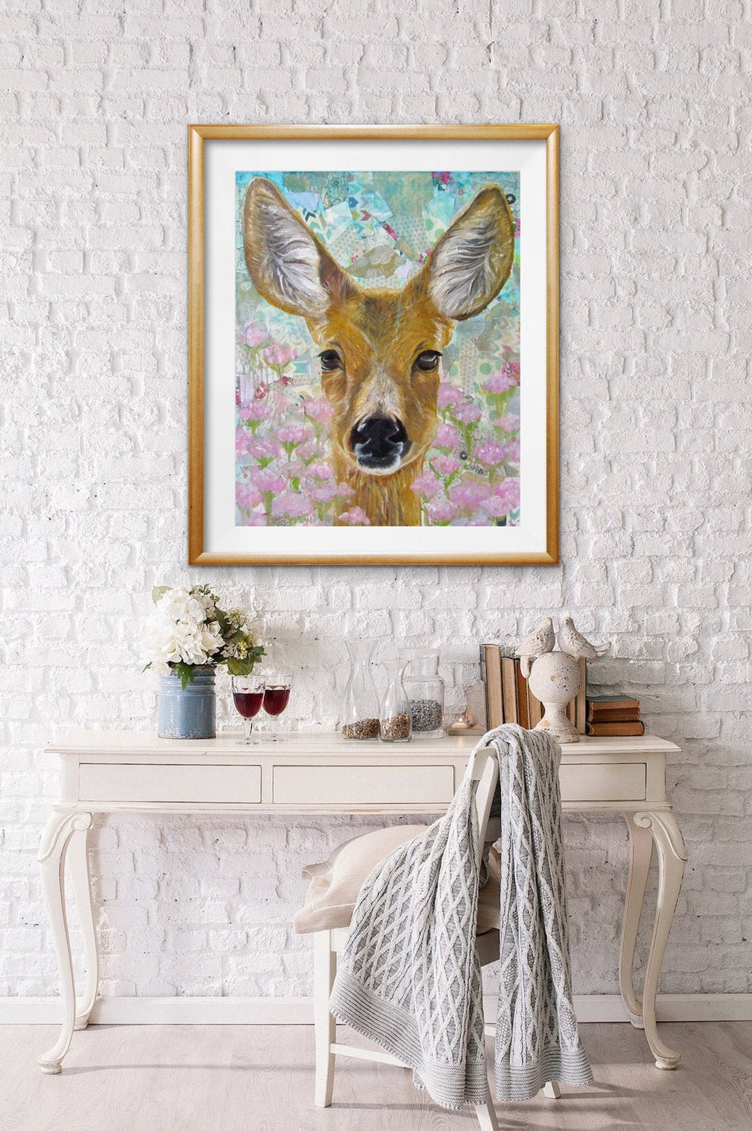 Giclee fine art print of original deer oil painting