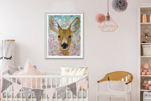 "Load image into Gallery viewer, Giclee fine art print of original deer oil painting ""Enchanted Meadow"""