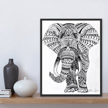 Load image into Gallery viewer, giclee fine art print of mandala elephant original painting