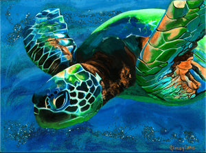 "original Sea Turtle sparkly resin pour painting on birch wood named ""Searching for Light"" by Ashley Lane"